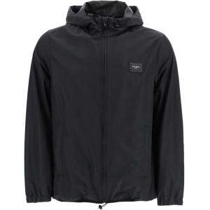 Dolce & Gabbana Black Nylon Hooded Jacket Size EU 52