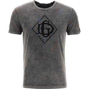 Dolce & Gabbana Grey Cotton Flocked Dg logo T-shirt Size EU 48