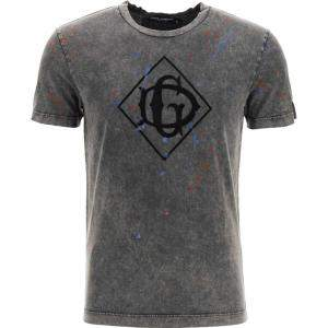 Dolce & Gabbana Grey Cotton Flocked Dg logo T-shirt Size EU 52