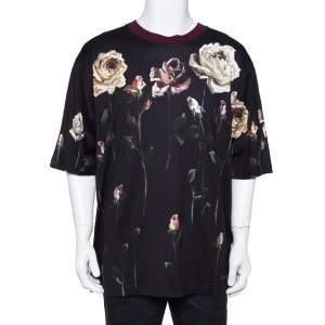Dolce & Gabbana Navy Blue Floral Printed Cotton Crewneck T-Shirt XL