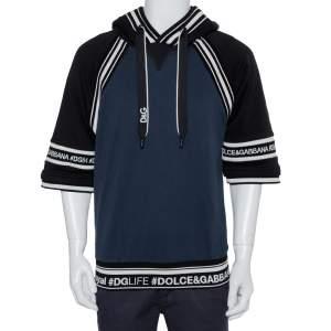 Dolce & Gabbana Navy Blue & Black Cotton Logo Band Detail Hoodie L