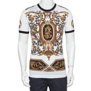 Dolce & Gabbana White Logo Printed Cotton Crewneck T-Shirt XS