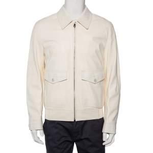 Dolce & Gabbana White Alligator Leather Zip Front Jacket XL