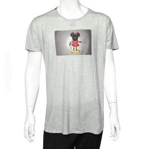 Dolce & Gabbana Grey Cotton Mickey Mouse Patch Detail Roundneck T-Shirt XXL