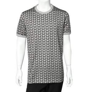 Dolce & Gabbana Grey Owl Printed Cotton Crewneck T-Shirt XXL