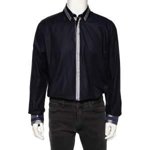 Dolce & Gabbana Navy Blue Cotton Stripe Silk Collared Gold Label Shirt XXL