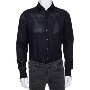 Dolce & Gabbana Black Cotton Mesh Velvet Collar Detail Gold Label Shirt M