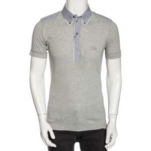 Dolce & Gabbana Grey Jersey Contrast Trim Button Down T-Shirt M
