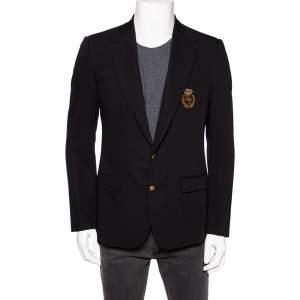 Dolce & Gabbana Black Wool Crown Logo Embroidered Single Breasted Blazer M