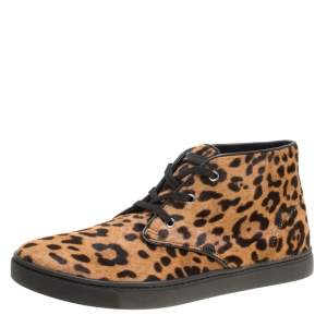 Dolce & Gabbana Leopard Print Calf Hair High Top Sneakers Size 43.5
