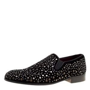 Dolce & Gabbana Black Velvet Crystal Studded Loafers Size 41