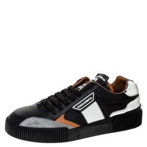 Dolce & Gabbana Multicolor Leather And Fabric New Miami Low Top Sneakers Size 43.5