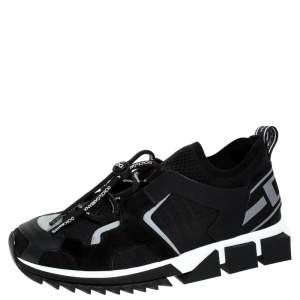 Dolce & Gabbana Black Leather and Mesh Sorrento Trekking Sneakers Size 41