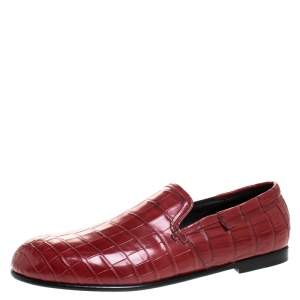 Dolce & Gabbana Red Crocodile Leather Smoking Slippers Size 43