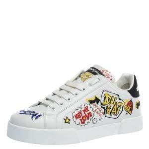 Dolce & Gabbana White Leather Dubai Graffiti Print Low-Top Sneakers Size 39