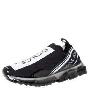 Dolce & Gabbana Black Stretch Jersey Logo Print Slip On Sneakers Size 41.5