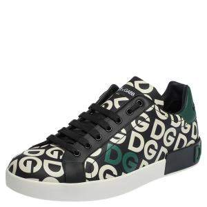 Dolce & Gabbana Multicolor DG Mania Print Leather Low-Top Sneakers Size 44