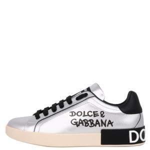 Dolce & Gabbana Silver Portofino Sneakers Size EU 44