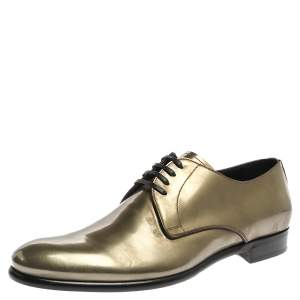 Dolce & Gabbana Metallic Green Patent Leather Oxfords Size 43