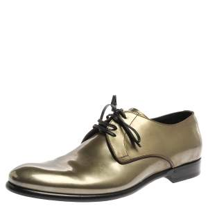 Dolce & Gabbana Metallic Green Patent Leather Oxfords Size 42.5