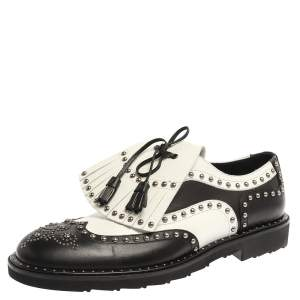 Dolce & Gabbana Black/White Studded Leather Brogue Detail Fringe Oxfords Size 42.5