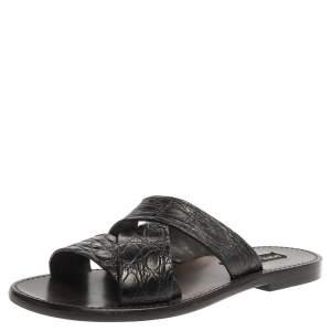 Dolce & Gabbana Black Croc Embossed Leather Criss Cross Flat Slide Sandals Size 42