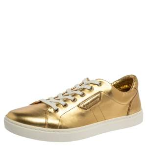 Dolce & Gabbana Metallic Gold Leather Low Top Sneakers Size 41.5