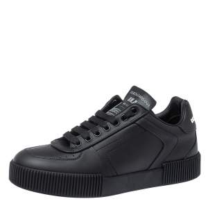 Dolce & Gabbana Black Leather Miami Logo Trainer Sneakers Size 40
