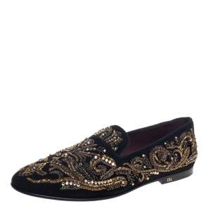 Dolce & Gabbana Black Suede Embellished Smoking Slippers Size 44