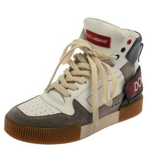 Dolce & Gabbana White/Grey Leather And Suede High Top Sneakers Size 42