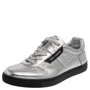 Dolce and Gabbana Metallic Silver Perforated Leather Sneakers Size 43