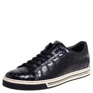 Dolce & Gabbana Black Croc Embossed Leather Sneakers Size 45