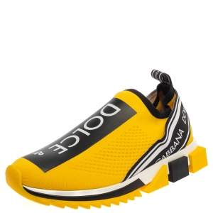 Dolce & Gabbana Yellow/Black Stretch Fabric Jersey Logotape Print Slip On Sneakers Size 42