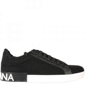 Dolce & Gabbana Black Knit Portofino Sneakers Size IT 43.5