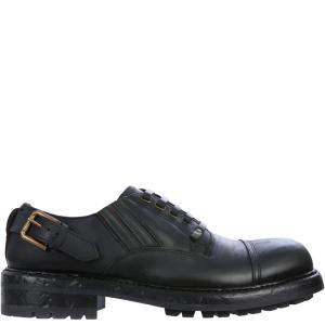 Dolce & Gabbana Black Leather Buckle Derby Shoe Size EU 43