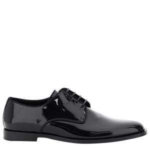 Dolce & Gabbana Black Glossy Patent Leather Derby Shoes Size IT 44