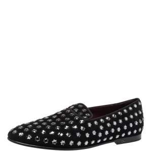Dolce & Gabbana Black Suede Fusible Stars Embellished Loafers Size 42