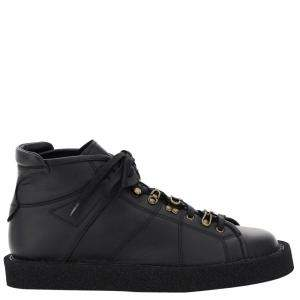 Dolce & Gabbana Black Leather Modigliani Lace-Up High top Sneakers Size IT 42