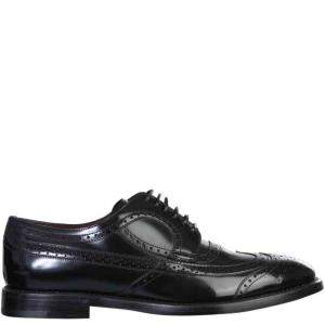 حذاء ديربي دولتشي أند غابانا ايه201 مزين بروغي أسود مقاس إيطالي 42.5