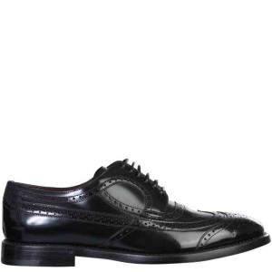 حذاء ديربي دولتشي أند غابانا مزين بروغي أسود مقاس إيطالي 43.5