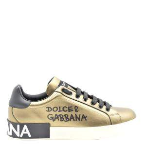 Dolce & Gabbana Gold/Black Calfskin Nappa Leather Portofino Sneakers EU 41