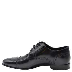 Dolce and Gabbana Black Leather Detail Derby Shoes Size EU 41