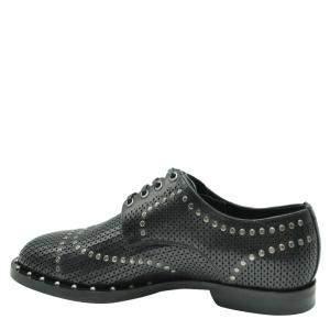 Dolce & Gabbana Black Perforated Studded Derby Shoes Size EU 41