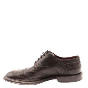 Dolce & Gabbana Brown Leather Detail Derby Shoes Size EU 41