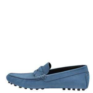 Dolce & Gabbana Blue Leather Genova Loafers Size EU 41