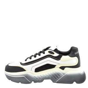 Dolce & Gabbana White/Black Calfskin Nappa Leather Daymaster Sneakers Size EU 42