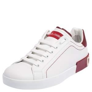 Dolce & Gabbana White Leather Portofino Low Top Sneakers Size 41