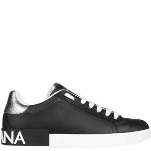 Dolce & Gabbana Black Calfskin nappa  Portofino Sneakers Size IT 39.5