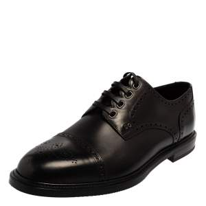 Dolce & Gabbana Black Brogue Leather Michelangelo Lace Up Derby Size 44.5