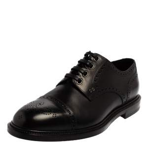 Dolce & Gabbana Black Brogue Leather Michelangelo Lace Up Derby Size 43